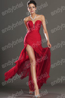 Actual Images 2013 Sweetheart Red Prom Dresses Split Front B...