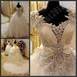 Wholesale 2013 Newest Luxury Beaded Cap Sleeves flower crystals lace wedding dresses bride dress evening gown