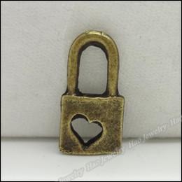 Charm love Lock Pendant Vintage bronze Alloy Fit Bracelet & Necklace DIY Metal Jewelry 300pcs lot