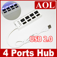 Wholesale High Speed Port Mini USB Hub ON OFF Sharing Switch with LED For Laptop PC retail package white