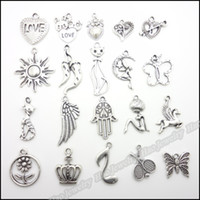 Wholesale Mixed charm antique silver plated zinc alloy pendants fit bracelet necklace DIY jewelry
