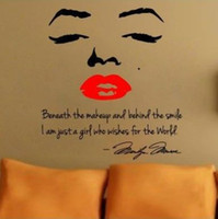 Wholesale Marilyn Monroe Wall Decal Decor Quote Face Red Lips Large Nice Wall Stickers