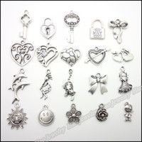Wholesale Mixed charm antique silver plated alloy pendants fit bracelet necklace DIY jewelry