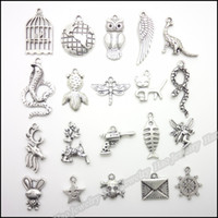 Wholesale Mixed charm antique silver plated zinc alloy Retro pendants fit bracelet necklace DIY jewelry