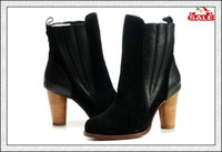 Wholesale Boots Winter Boots High Heel Leather Boots Shoes Girls Boots High Quality Fashion Black Shoe