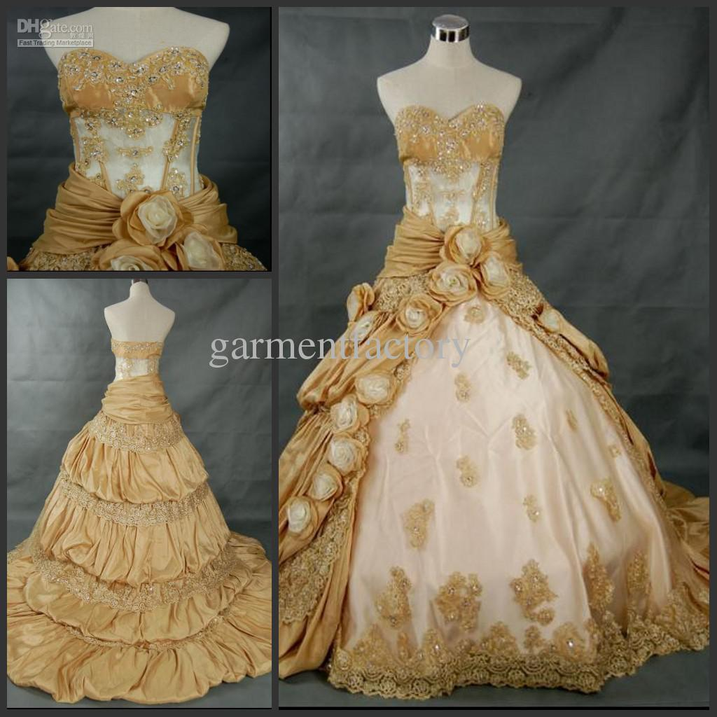 Gorgeous Sweetheart Cut Bride Ball Gowns Chapel Gold Taffeta ...