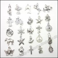 Wholesale Mixed charm antique silver plated alloy vintage pendants fit bracelet necklace DIY jewelry