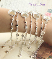 Wholesale Copper Silver Color Tray mm Crown Fancy bracelet Style Tray mm Round Fancy bracelet Style