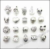 Wholesale Mix Antique silver charms Beads suitable for DIY European bead bracelet zinc alloy