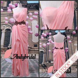 Wholesale In Stock Ready to Ship One shoulder Coral Chiffon Prom Dresses Evening Dresses For US Size