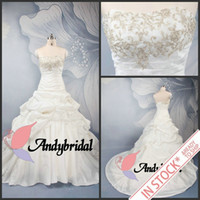 Actual Images embellishments - A Line Wedding Dresses with Embroidery Strapless Lace up Ruffled Taffeta Cheap Bridal Gowns Cathedral Wedding Dress with Gold Embellishment