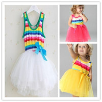Wholesale Retail Rainbow Dress tutu dress Girls Children Striped Princess Lace Skirt Children dresses Colors