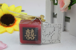 Wholesale 10 Square Double Happiness Red Artistic Candle Wedding Gift Party Favor