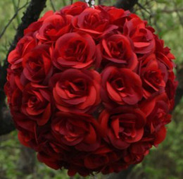 Wholesale MIC Pc Red Kissing Ball Pomander Wedding Decorations Flower Pew Bows