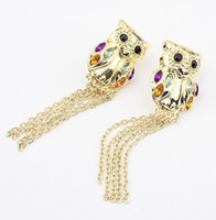 Wholesale New Fashion Style Gold Plated Crystal Owl Tassels Dangle Earring pairs
