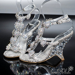 Wholesale 2013 Dazzing High Heels Beading Peep Toe silver Evening Prom Party Dresses Lady Bridal Wedding Shoes