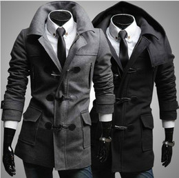 Wholesale New Fashion men s woolen imitate horn button coat overcoat topcoat with detachable hat F13