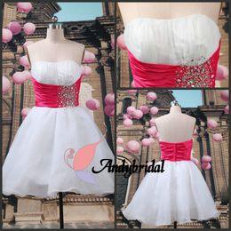 Wholesale 2012 Fahsion Lovely A line Mini Strapless Fushcia Beads Sash White Party Dresses Bridesmaid Dresses