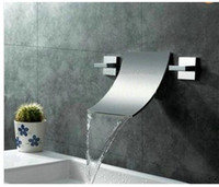 bath tub spout - 3pcs waterfall spout with taps mixer faucet wall mounted bath tub hr01