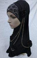 Wholesale H005 lastest hijab with chain and flowers fast delivery mixed colors