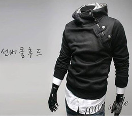 Wholesale 2014 NEW Hot classic High collar Hoodies Jacket Men s Hoodies inclined zipper design Add villi hooded jacket