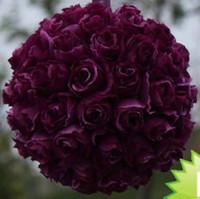 hanging balls - MIC PC PURPLE FLOWER KISSING BALL POMANDER HANGING PEW BOWS WEDDING DECORATIONS