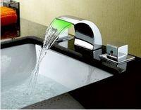 Chrome bathtub waterfall spout - LED Bathtub Basin Sink Waterfall Spout Mixer Tap Chrome Faucet Set hr05