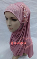 Wholesale H014 lastest hijab with flowers fast delivery mixed colors