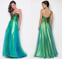 Wholesale Sequin Bodice Green Peacock Blue Tulle Pageant Gown Evening Party Dress Formal Prom Dresses