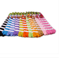 Wholesale pairs Women s amp Girl Colorful stripes five finger Toe Socks Colors Mix