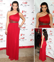 Reference Images Cannes Film Festival One-Shoulder 2013 Sexy Red Chiffon Celebrity Dresses Beaded Evening Dresses Prom Dresses wear by Kim Kardashian