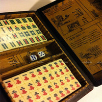 Wholesale Chinese Vintage Mah Jong with Rosewood Leather Box With Instructions Book