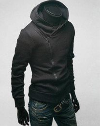 Wholesale NEW High collar Hoodies Men s Hoodies oblique zipper sports jacket hooded Fashion Classic coat