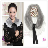 Wholesale New Fashion Women s Faux Rabbit Fur Collar False collars Scarf Lace Edge Shawls Neck Warms FREE SH