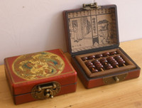abacus books - Small China Rare Abacus with Rosewood Leather Box with Abacus Book