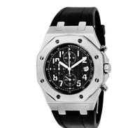 Men's Quartz Analog Luxury Mens Royal Oak Offshore Black Date Working Chrono Dive Rubber strap Watch Men's Watches