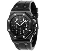 Men's Quartz Analog Luxury Mens Royal Oak Offshore Black Dial Dlc Pvd Date Chronograph Dive Rubber Watch Men's Watches