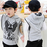 Boy baby eagles clothes - korean style baby hooded waistcoat kids casual eagle vest children sleeveless clothes