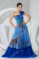 Wholesale Unique multicolour one shoulder blue tulle full length prom Gowns party dress Evening Dresses WD