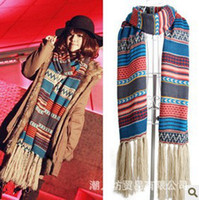 Wholesale European and American bohemian autumn and winter scarves long national wind female shawl wool k