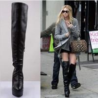Wholesale new arrival female winter leather black slope increased platform wedge knee boots EU35