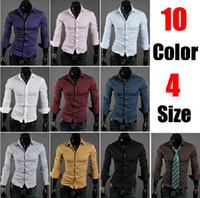 mens dress shirts - 2015 Hot Sale Colors Long Sleeves Fashion Style Design Mens Slim fit Casual Dress Shirts