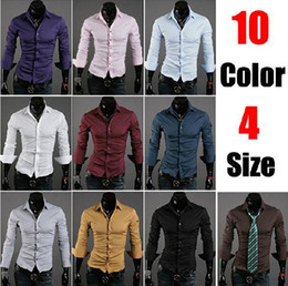 Wholesale 10 Colors Long Sleeves Fashion Style design Mens Slim fit Casual Dress Shirts