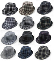 Wholesale Black Plaid Fashion Fedora Hats Adult Stingy Brim Caps Classical Jazz Hat Cap Mix Order
