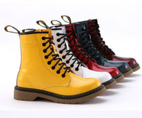 Wholesale Colorful Winter Boots Women - 6 colors 100% genuine leather cowskin paint glossy colorful black yellow 8 holes womens martin boots