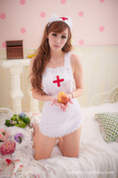 Wholesale 2012 Hot Sale Sexy Nurse Lingerie piece sets Dress Thong Stockings Pink Pajamas Batty