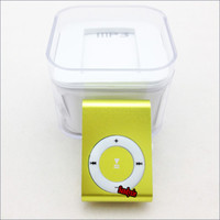 Wholesale Free DHL Mini Clip MP3 player metal clip mp3 w TF slot MP3 USB Earphone Crystal Box