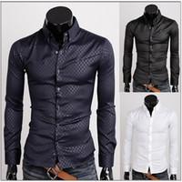 Wholesale Fashion Long Sleeve Plaid Men s Slim Dress Casual Shirt Free ship Colors M XXXL