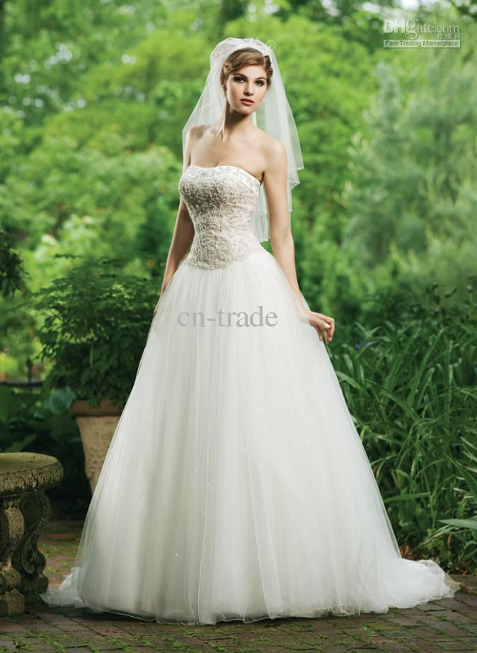 2014 Wedding Dresses Bead Lace Strapless Bodice Tops Gown