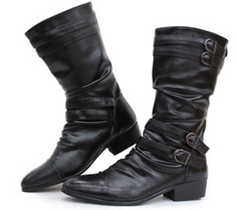 Pointed Toe Men's Leather Shoes Knee-High Boots,Punk Buckles Wrinkles Back Zipper Outdoor Winter Leather Boots,US Size 6.5-10